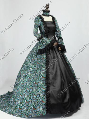 Renaissance Peacock Princess Ball Gown Fancy Dress Reenactment Clothing 119