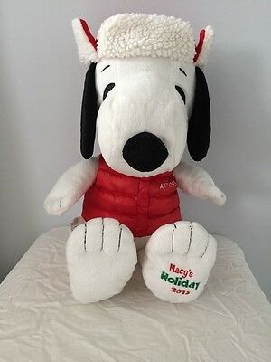 "Macy's Holiday Snoopy 2015 Large 18"" Plush PEANUTS - VGC"