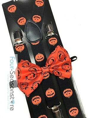 Halloween Novelty Pumpkin Bow Tie And Suspender Matching Set Tuxedo  - Halloween Novelty