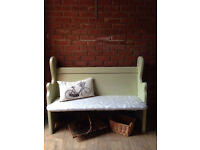 Vintage Laura Ashley Fabric Settle Bench / Window Hall Seat / Church Pew