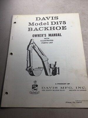 Davis Model D175 Backhoe Owners Manual And Parts List