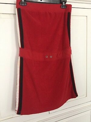 Vintage Strapless Red Terry Cloth Tube Dress Beach Cover Up Swim Size S