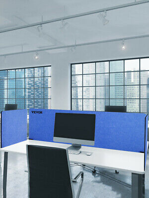 Vevor 6024 Room Acoustic Desk Divider Privacy 3-panel Raw Clamp-on Blue Screen