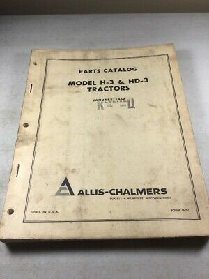 Allis Chalmers H-3 Hd-3 Parts Catalog Manual