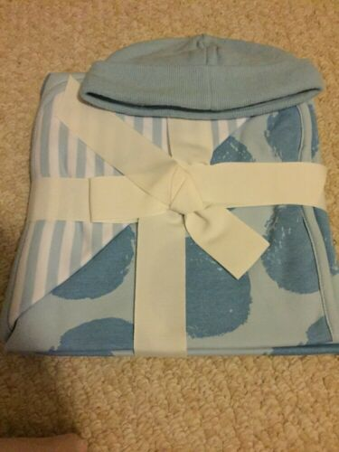 """NWT Gymboree Blue Dot Cotton Receiving Blanket 30x30"""" And Ca"""