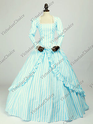 Victorian Steampunk Gown Princess Cosplay Candy Striped Dress Costume N 321 M