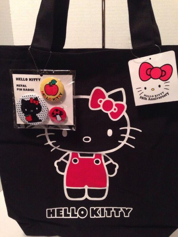 Sanrio Hello Kitty 35th Anniversary Black Canvas Tote Bag w/ 4 Bonus Pins NWT