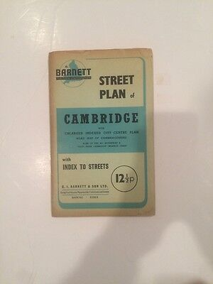 Barnett Street Plan of Cambridge Fold out Map with Index to Streets