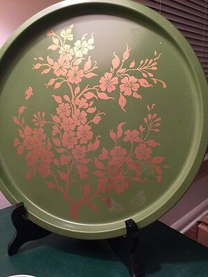 Vintage Round Toleware Metal Tray & Coasters Green W Gold Flowers