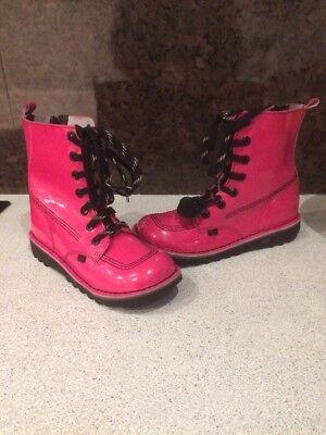 Ladies Girls Kickers Pink Kick So High Patent Boots Uk 4 Eur 37