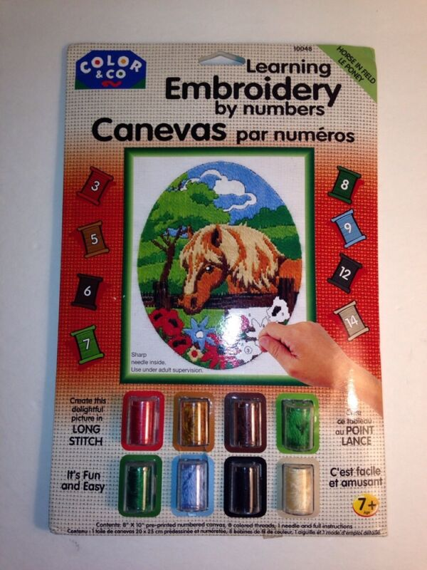 LEARNING EMBROIDERY by NUMBERS KIT 7+NEW IN PACKAGE Horse made in England