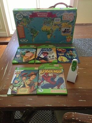 Leap Frog Tag Reading Learning System Lot Pen 5 Books World Map EUC on Rummage