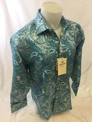 Button-down Woven Dress Shirt (Mens MANZINI Button Down Dress Shirt Woven AQUA PAISLEY Designer FRENCH CUFFS )
