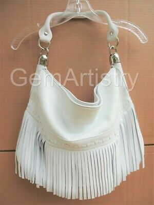 B. MAKOWSKY Andalusia Fringe Leather Shoulder Handbag,  Brand New, Bright White