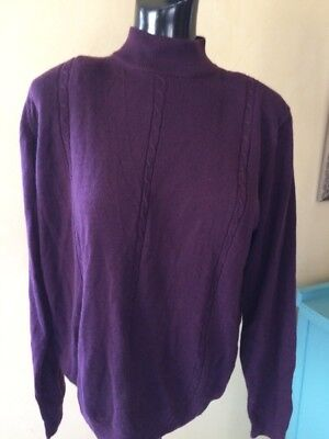 Vintage LUCIA Cable Knit Zip Back Long Sleeved Mulberry Mock Turtleneck Size M