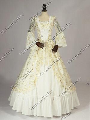 Renaissance Fair Princess Vintage Wedding Dress Prom Gown Reenactment Wear 133
