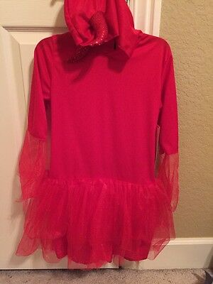 Devil Red Dress Vampire Costume  Youth L 10-12 Tulle Skirt Horns Attach Hood NWT (Costume Horn)