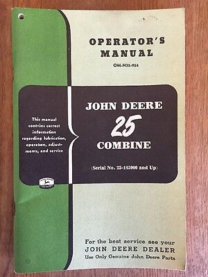 1953 John Deere 25 Combine operators manual ORIGINAL