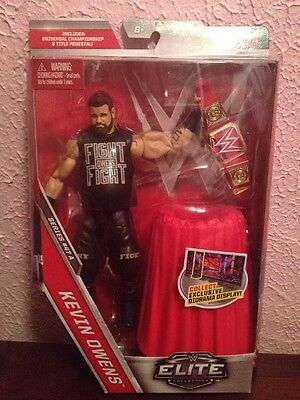 WWE Mattel Kevin Owens Elite Series 47A Figure Red Raw Universal Title & Table - Elite Cherry Table