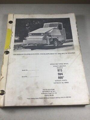Fmc Wayne 973 983 990 Street Sweepers Parts Catalog Manual