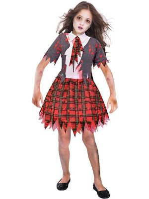Zombie School Girl Costume Girls Halloween Scary Fancy Dress Outfit Child - Scary School Girl Kostüm