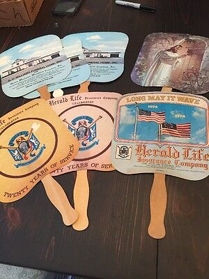 LOT OF 7 VINTAGE HAND HELD ADVERTISING FANS