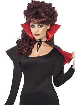 Mini Vampir Cape mit Kragen Umhang Halloween Vampirin Kostüm Zubehör Accessoire