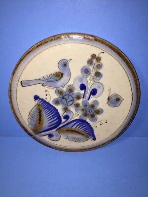* El Palomar Mexico Mexican Signed Glazed Pottery Trivet Bird Butterfly Flower