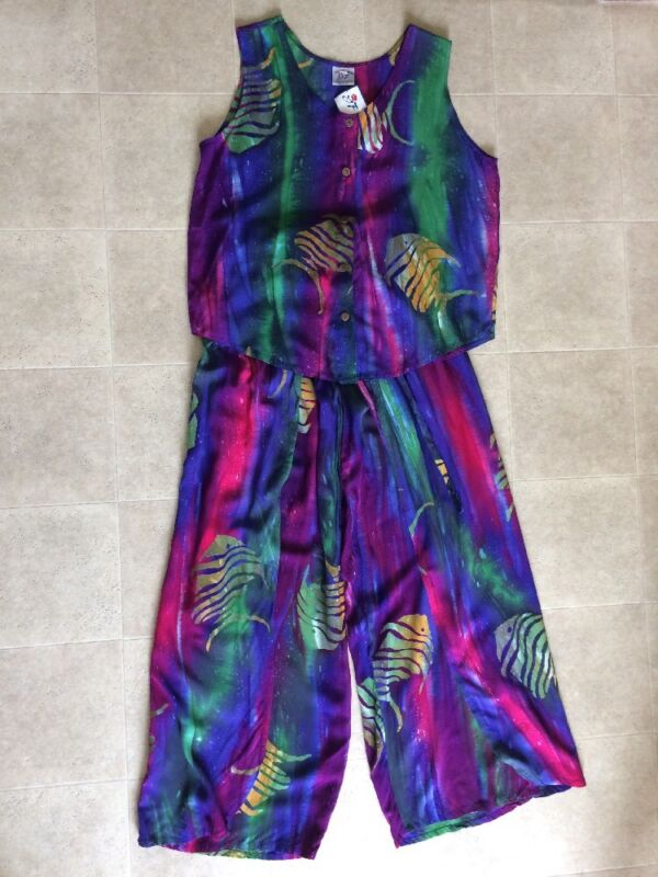 Vintage Young Fashion Handmade Women Summer Set Top Pants Size L Hand Painting