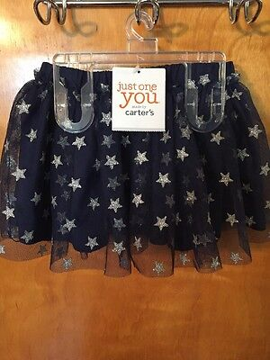 NWT - Infant Girls, Just One You Made By Carter's, Blue Holiday Skirt, Stars,