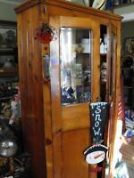 antique kitchen cupboard and an antique pine dresser