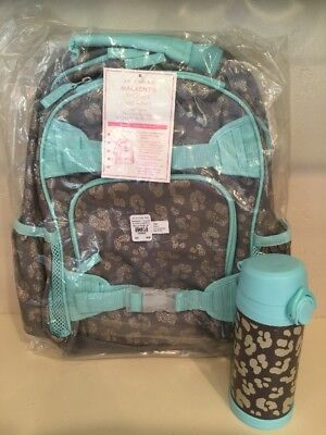 Pottery Barn Kids Small Cheetah Backpack Water Bottle Girls Set Aqua Gray New ()