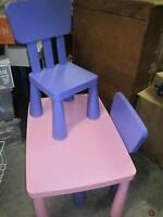 ikea pink table (rare) and two purple chairs