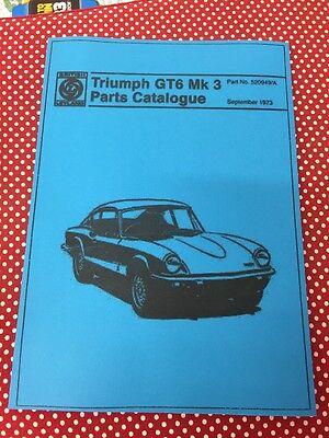Triumph GT6 Mark III Mk 3 Parts Manual Catalogue