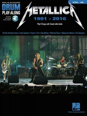 Metallica: 1991-2016 Sheet Music Drum Play-Along Book and Audio NEW 000234341