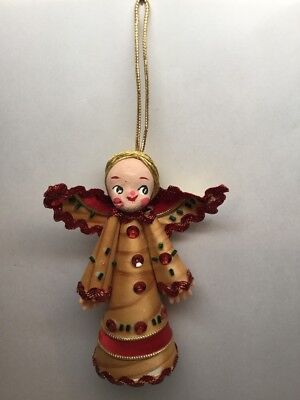 "Vintage Angel Girl Christmas Tree Topper Tan Red Cardboard Table Decor 5"" C10"