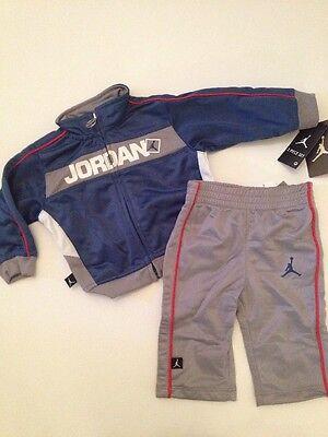 Air Jordan Baby Boys Size 3 6 9 Months Outfit Jacket Track Suit Pants Grey Blue