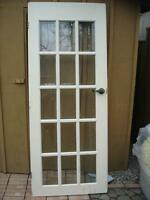 FRENCH DOOR with Bebeled glass & with hinges & handles etc.