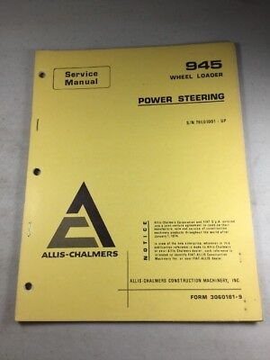 Allis Chalmers 945 Wheel Loader Power Steering Service Manual