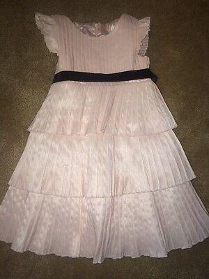 5 Girls light pink dress Formal Dress,Wedding Black Belt, Flower Girl Sleeveless