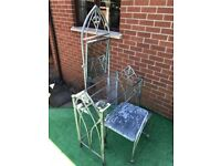 French gothic dressing table and chair.