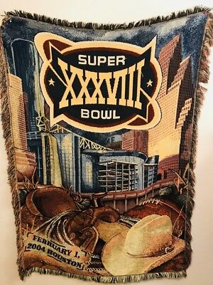 "(New England Patriots Super Bowl XXXVIII 38 Tapestry Throw Blanket 42""x 56"" Texas)"