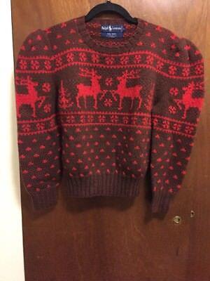 Vtg Ralph Lauren  Heavy Wool Nordic American Winter Sweater Womens Size  L