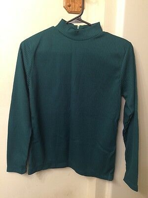 Vintage Miss K Ladies' Dark Green Polyester Rib Knit Mock Turtleneck Size M