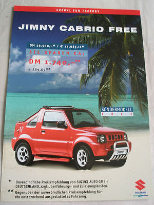 Suzuki Jimy Cabrio Free brochure Apr 2000 German text