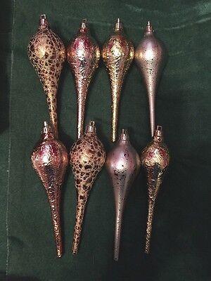 Set 8 Sage & Co. Finial Pink Rose Teardrop elongated Ornaments Copper gold