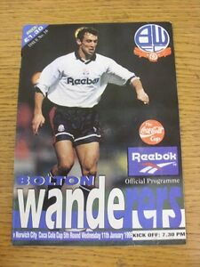 11-01-1995-Bolton-Wanderers-v-Norwich-City-Football-League-Cup-Creased-Good