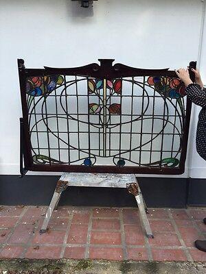 LARGE PUB SNUG STAINED GLASS WINDOW PANEL ANTIQUE PERIOD LEAD OLD ART NOUVEAU
