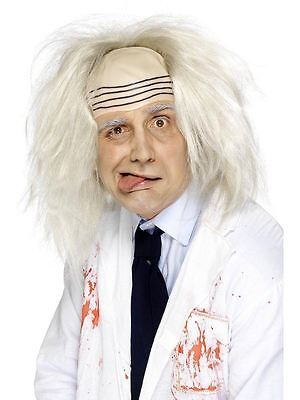 Mens White Albert Einstein Mad Man Wig Halloween Fancy Dress - Albert Einstein Fancy Dress Kostüm