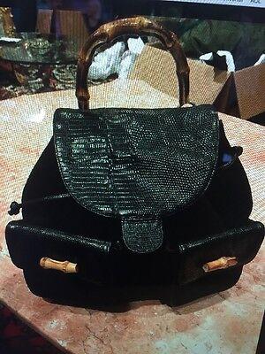 Women's BLACK SUEDE With SNAKESKIN SUSAN GAIL BACKPACK - Black Snakeskin Backpack